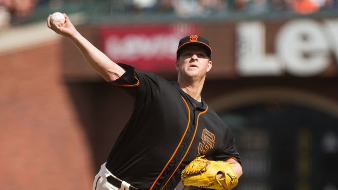 May 21, 2016; San Francisco, CA, USA; San Francisco Giants starting pitcher Matt Cain (18) pitches the ball against the Chicago Cubs during the first inning at AT&T Park. Mandatory Credit: Kelley L Cox-USA TODAY Sports