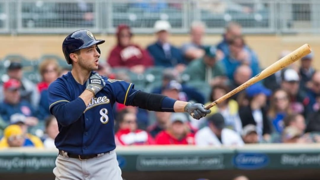 Apr 19, 2016; Minneapolis, MN, USA; Milwaukee Brewers outfielder Ryan Braun (8) at bat in the ninth inning against the Minnesota Twins at Target Field. The Milwaukee Brewers beat the Minnesota Twins 6-5. Mandatory Credit: Brad Rempel-USA TODAY Sports