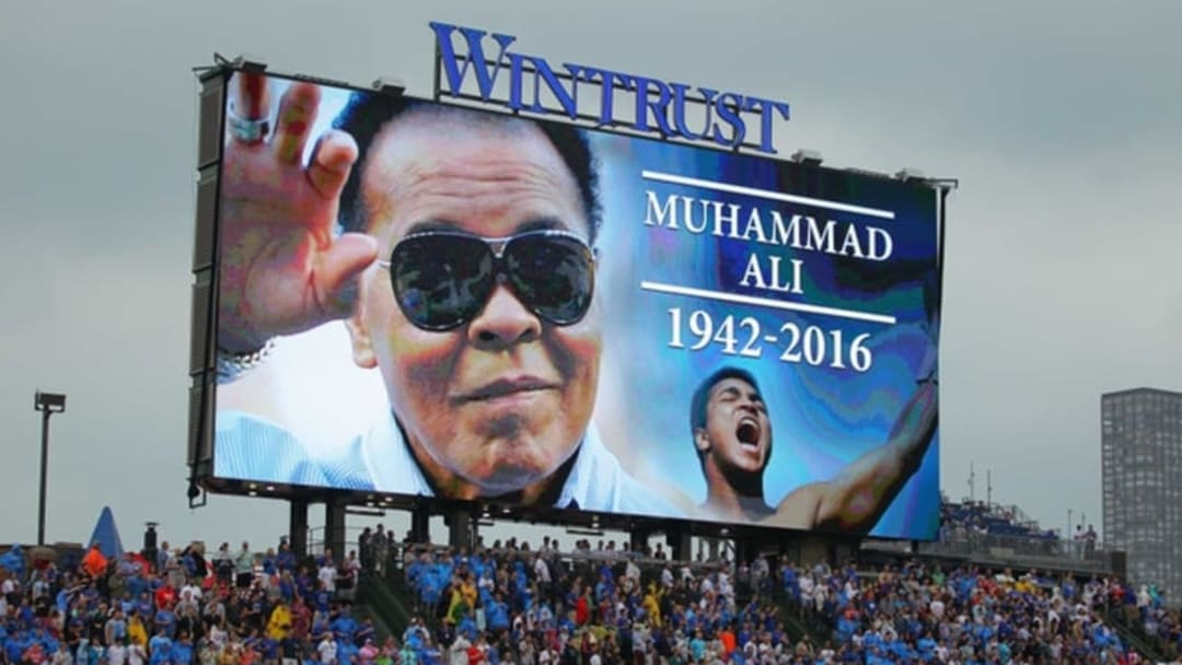 Jun 4, 2016; Chicago, IL, USA; A tribute to Muhammad Ali prior to the first inning between the Chicago Cubs and the Arizona Diamondbacks at Wrigley Field. Mandatory Credit: Dennis Wierzbicki-USA TODAY Sports