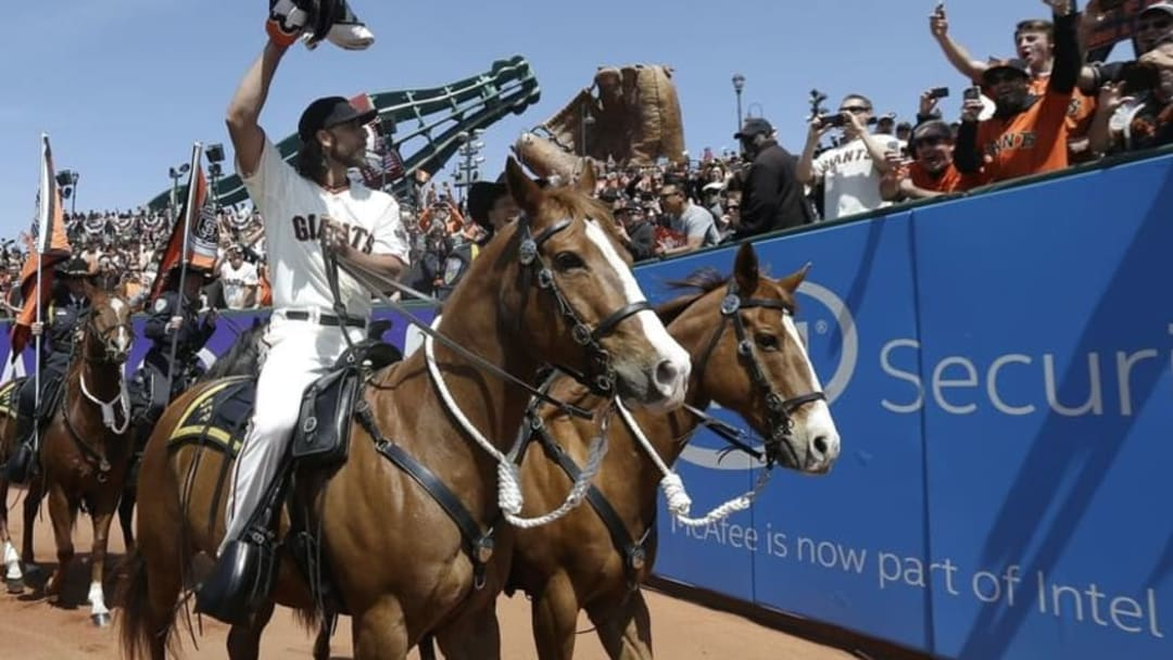 If Madison Bumgarner can ride a horse without getting hurt, he can swing for the fences without worrying about injury, right? (Jeff Chiu-Pool Photo via USA TODAY Sports)