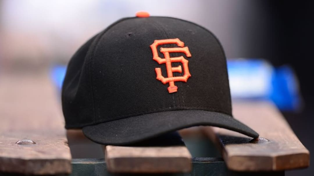 May 23, 2015; Denver, CO, USA; General view of a San Francisco Giants baseball cap in the fifth inning against the Colorado Rockies at Coors Field. Mandatory Credit: Ron Chenoy-USA TODAY Sports
