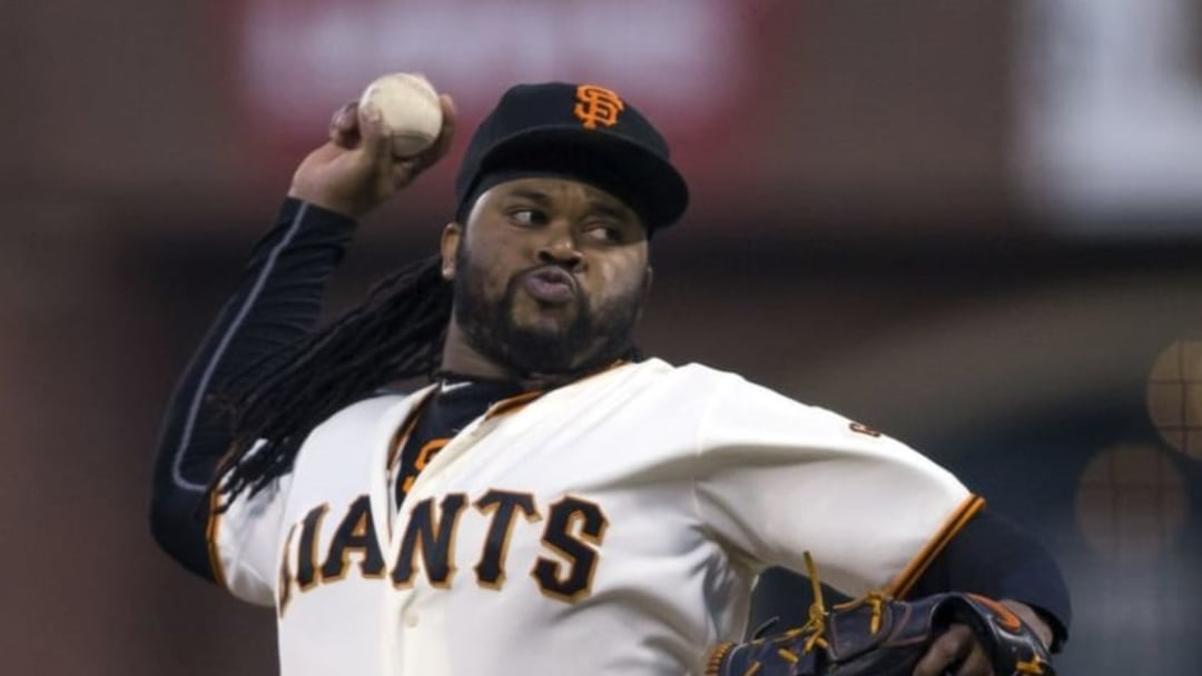 Sep 15, 2016; San Francisco, CA, USA; San Francisco Giants starting pitcher Johnny Cueto (47) delivers a pitch during the first inning against the St. Louis Cardinals at AT&T Park. Mandatory Credit: Neville E. Guard-USA TODAY Sports