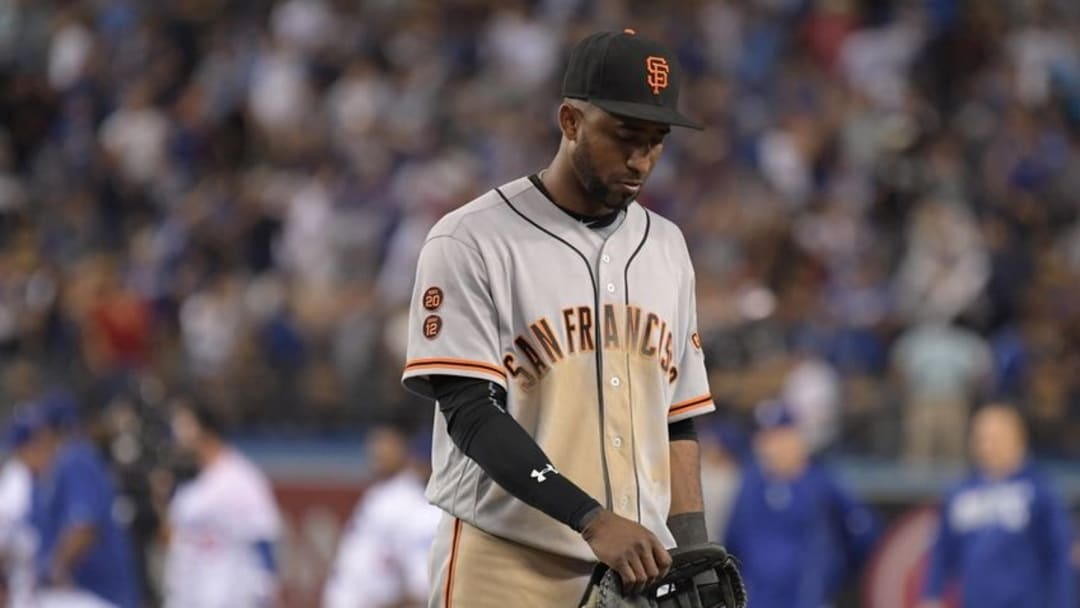 Sep 19, 2016; Los Angeles, CA, USA; San Francisco Giants third baseman Eduardo Nunez (10) reacts after a 2-1 loss to the Los Angeles Dodgers at Dodger Stadium. Mandatory Credit: Kirby Lee-USA TODAY Sports