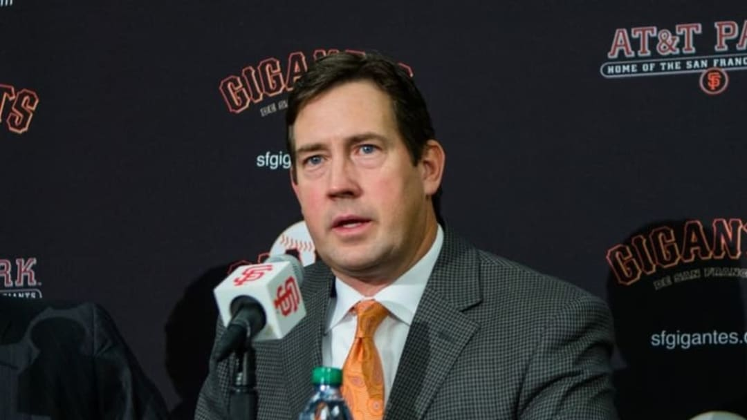 Dec 17, 2015; San Francisco, CA, USA; San Francisco Giants senior vice president and general manager Bobby Evans announces the signing of pitcher Johnny Cueto at a press conference at AT&T Park. Mandatory Credit: John Hefti-USA TODAY Sports