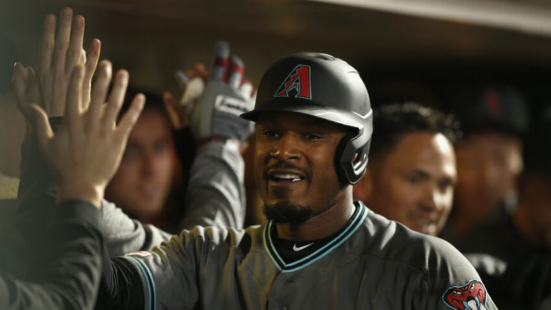 SAN FRANCISCO, CALIFORNIA - MAY 24: Adam Jones #10 of the Arizona Diamondbacks celebrates after hitting a three-run home run in the top of the fifth inning against the San Francisco Giants at Oracle Park on May 24, 2019 in San Francisco, California. (Photo by Lachlan Cunningham/Getty Images)