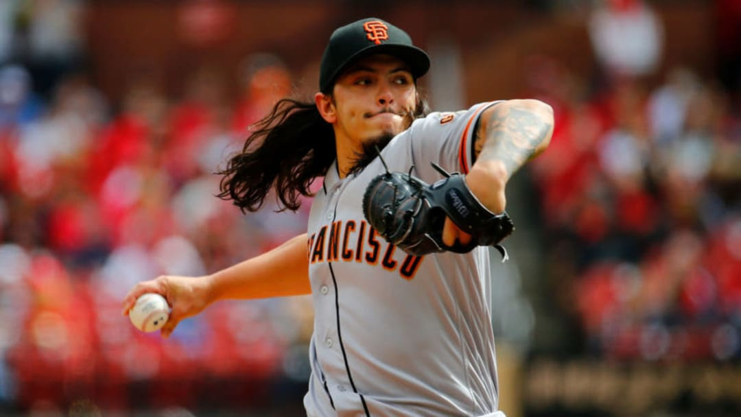 ST. LOUIS, MO - SEPTEMBER 22: Dereck Rodriguez #57 of the San Francisco Giants pitches against the St. Louis Cardinals in the second inning at Busch Stadium on September 22, 2018 in St. Louis, Missouri. (Photo by Dilip Vishwanat/Getty Images)