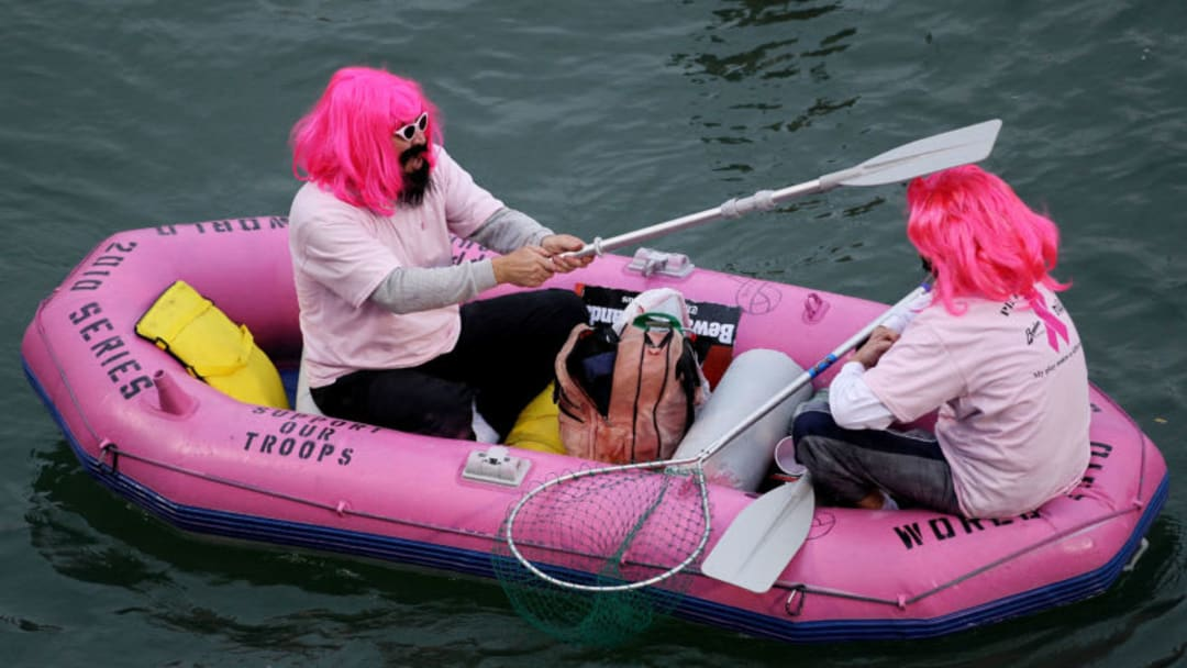 SAN FRANCISCO - OCTOBER 27: Fans dressed in costumes float in McCovey Cove outside of AT&T Park during Game One of the 2010 MLB World Series between the Texas Rangers and the San Francisco Giants on October 27, 2010 in San Francisco, California. (Photo by Doug Pensinger/Getty Images)