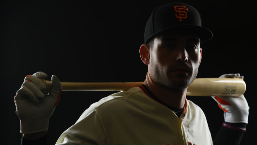 SCOTTSDALE, AZ - FEBRUARY 21: Chris Shaw #26 of the San Francisco Giants poses during the Giants Photo Day on February 21, 2019 in Scottsdale, Arizona. (Photo by Jamie Schwaberow/Getty Images)