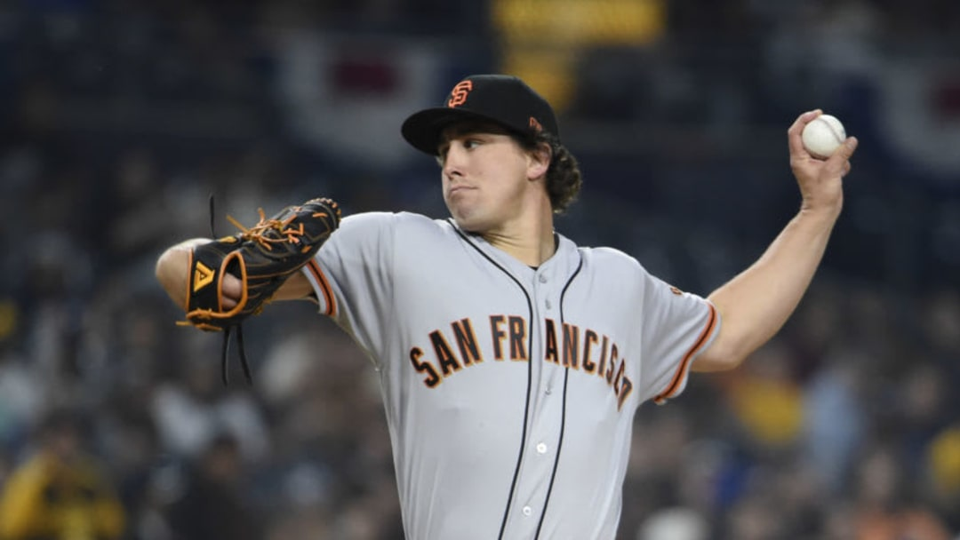 SAN DIEGO, CA - MARCH 29: Derek Holland #45 of the San Francisco Giants pitches during the first inning of a baseball game against the San Diego Padres at Petco Park March 29, 2019 in San Diego, California. (Photo by Denis Poroy/Getty Images)