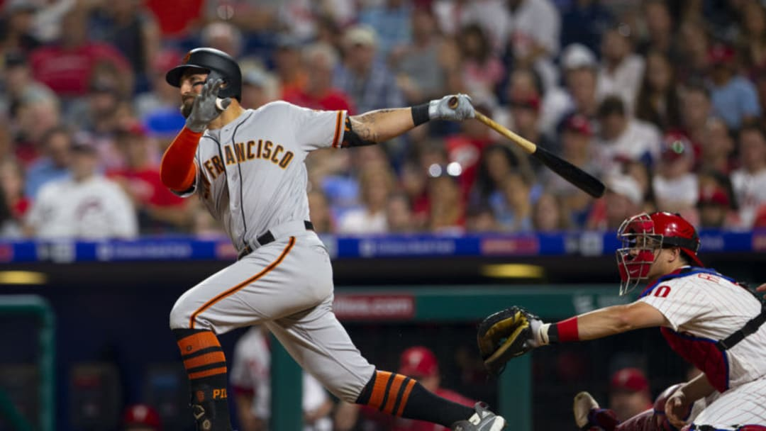 PHILADELPHIA, PA - JULY 31: Kevin Pillar #1 of the San Francisco Giants hits a two run home run in the top of the sixth inning against the Philadelphia Phillies at Citizens Bank Park on July 31, 2019 in Philadelphia, Pennsylvania. The Giants defeated the Phillies 5-1. (Photo by Mitchell Leff/Getty Images)