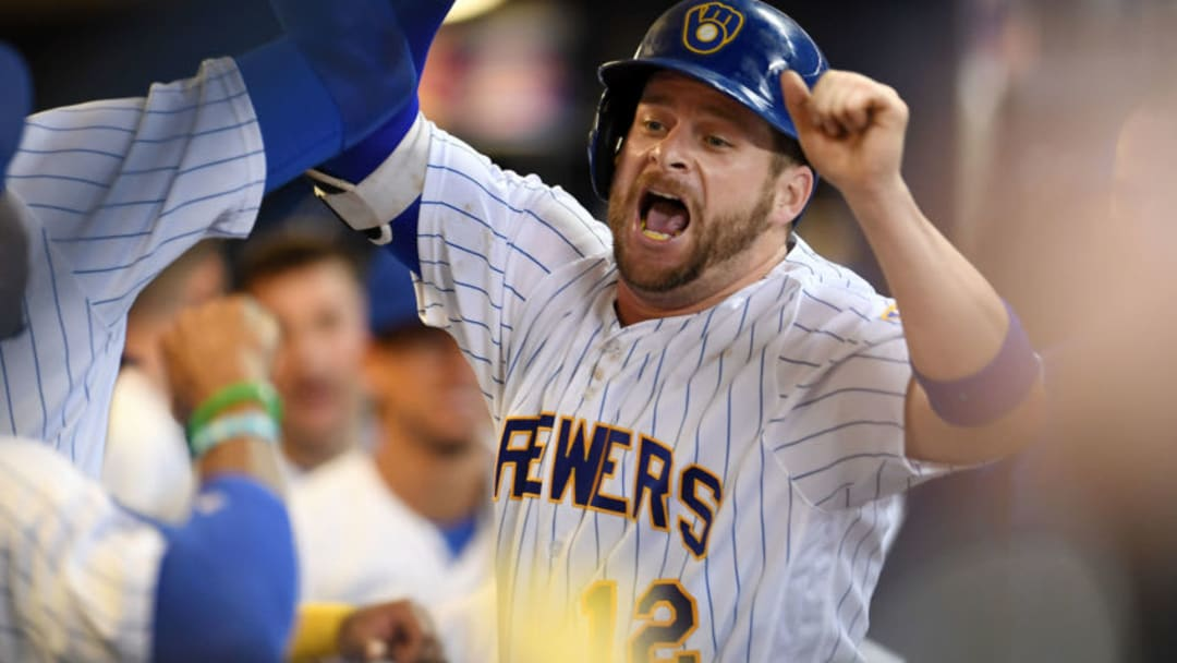 MILWAUKEE, WI - SEPTEMBER 22: Stephen Vogt #12 of the Milwaukee Brewers celebrates a solo home run during the second inning of a game against the Chicago Cubs at Miller Park on September 22, 2017 in Milwaukee, Wisconsin. (Photo by Stacy Revere/Getty Images)