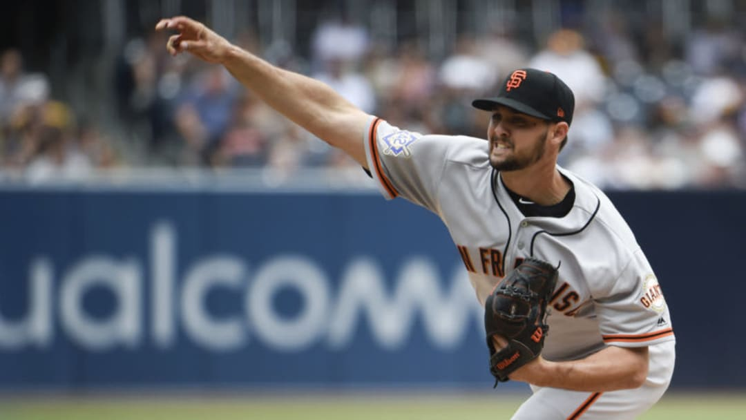 SAN DIEGO, CA - APRIL 15: Tyler Beede #38 of the San Francisco Giants pitches during the first inning of a baseball game against the San Diego Padres at PETCO Park on April 15, 2018 in San Diego, California. All players are wearing #42 in honor of Jackie Robinson Day. (Photo by Denis Poroy/Getty Images)
