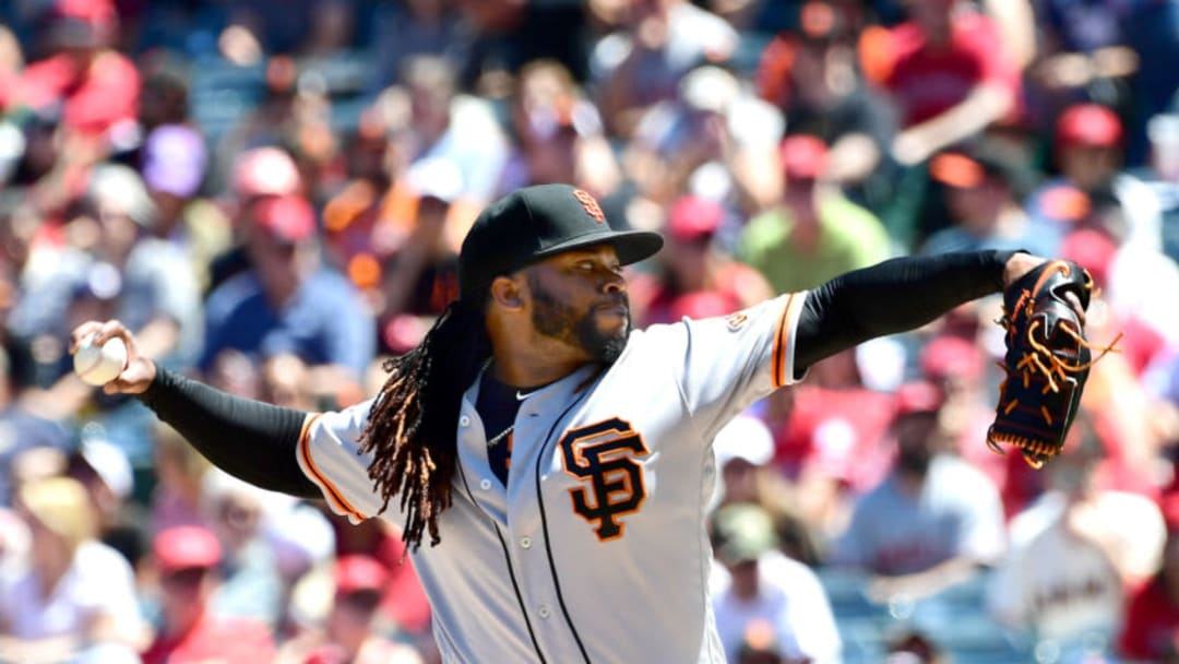 ANAHEIM, CA - APRIL 22: Johnny Cueto #47 of the San Francisco Giant pitches in the first inning of the game against the Los Angeles Angels of Anaheim at Angel Stadium on April 22, 2018 in Anaheim, California. (Photo by Jayne Kamin-Oncea/Getty Images)