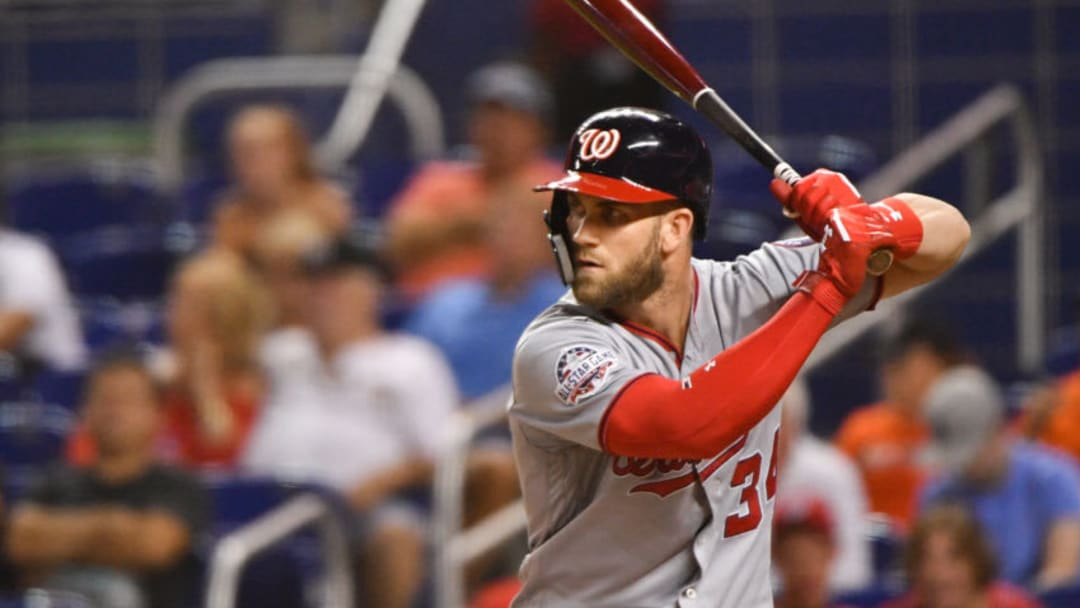 MIAMI, FL - JULY 26: Bryce Harper #34 of the Washington Nationals at bat in the seventh inning against the Miami Marlins at Marlins Park on July 26, 2018 in Miami, Florida. (Photo by Mark Brown/Getty Images)