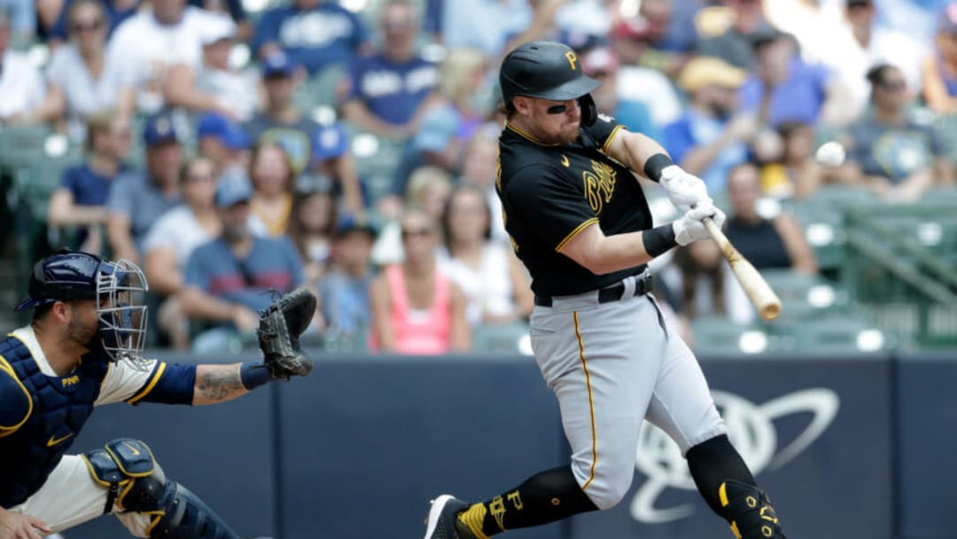 MILWAUKEE, WISCONSIN - AUGUST 04: John Nogowski #69 of the Pittsburgh Pirates hits a run batted in sacrifice fly in the sixth inning against the Milwaukee Brewers at American Family Field on August 04, 2021 in Milwaukee, Wisconsin. (Photo by John Fisher/Getty Images)