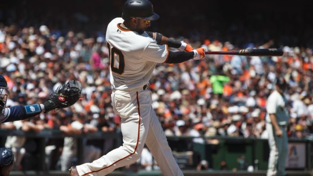 SAN FRANCISCO, CA - JULY 22: Eduardo Nunez #10 of the San Francisco Giants hits a two run single against the San Diego Padres during the fourth inning at AT&T Park on July 22, 2017 in San Francisco, California. (Photo by Jason O. Watson/Getty Images)