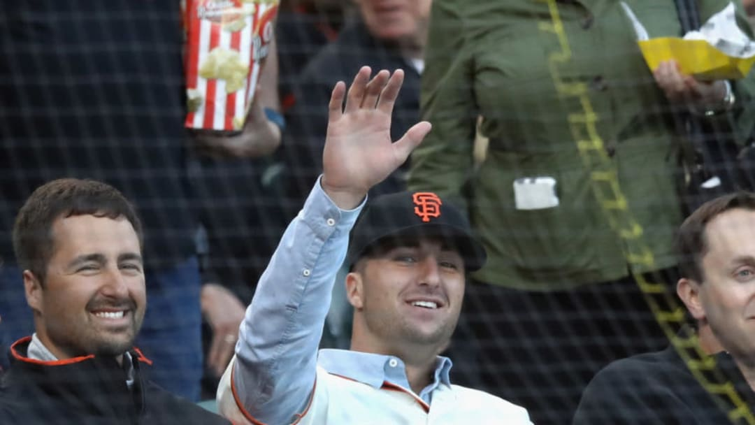 SF Giants prospect Joey Bart visits Oracle Park soon after being drafted with the second overall pick. (Photo by Ezra Shaw/Getty Images)