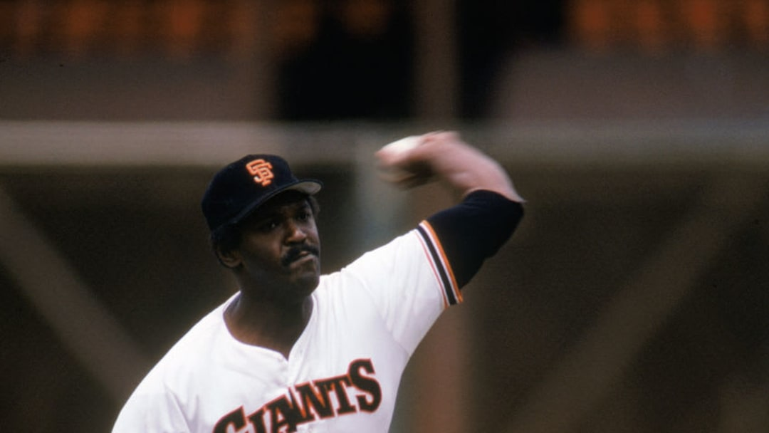 SAN FRANCISCO - MAY 11: Vida Blue #14 of the San Francisco Giants pitches during a game against the St. Louis Cardinals at Candlestick Park on May 11, 1985 in San Francisco, California. (Photo by Otto Greule Jr/Getty Images)