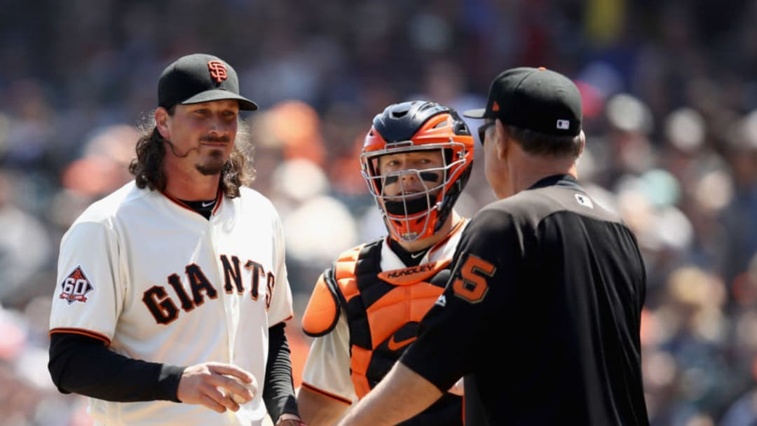 SAN FRANCISCO, CA - APRIL 25: Jeff Samardzija #29 of the San Francisco Giants is taken out of their game against the Washington Nationals in the fourth inning by manager Bruce Bochy at AT&T Park on April 25, 2018 in San Francisco, California. (Photo by Ezra Shaw/Getty Images)