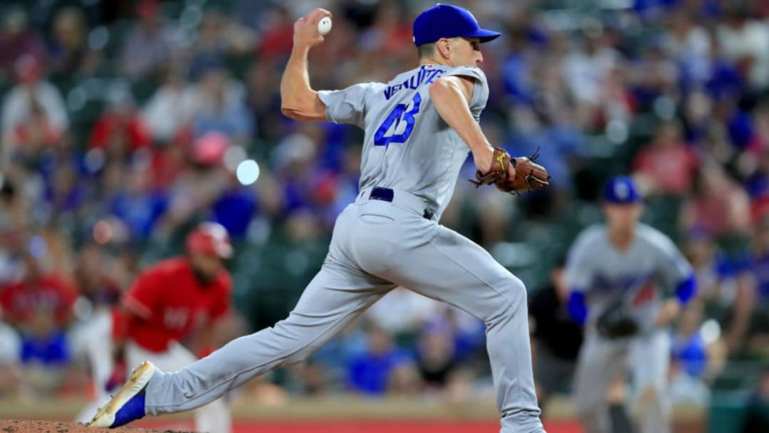 ARLINGTON, TX - AUGUST 28: Pat Venditte #43 of the Los Angeles Dodgers pitches against the Texas Rangers in the bottom of the eighth inning at Globe Life Park in Arlington on August 28, 2018 in Arlington, Texas. (Photo by Tom Pennington/Getty Images)