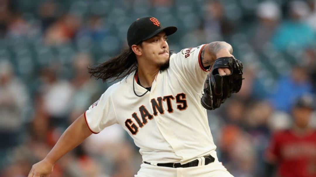 SAN FRANCISCO, CA - AUGUST 29: Dereck Rodriguez #57 of the San Francisco Giants pitches against the Arizona Diamondbacks in the first inning at AT&T Park on August 29, 2018 in San Francisco, California. (Photo by Ezra Shaw/Getty Images)