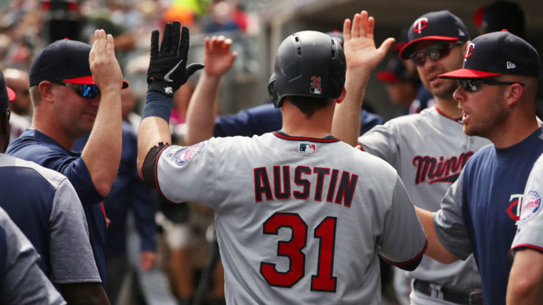 DETROIT, MI - September 19: Tyler Austin #31 of the Minnesota Twins celebrates scoring a run in the second inning with teammates while playing the Detroit Tigers at Comerica Park on September 19, 2018 in Detroit, Michigan. (Photo by Gregory Shamus/Getty Images)