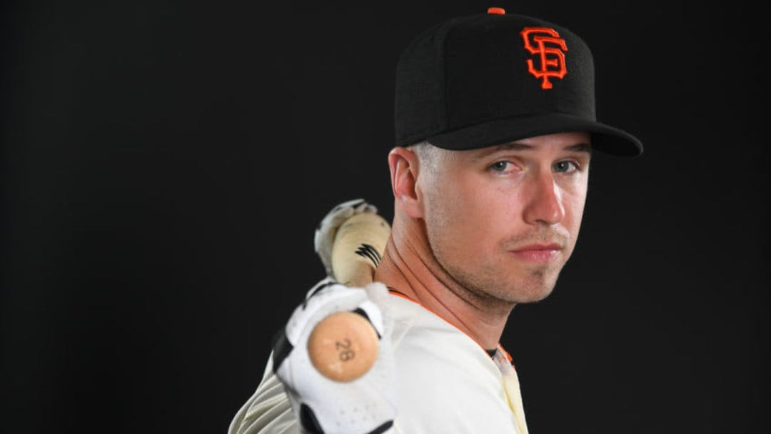 SCOTTSDALE, AZ - FEBRUARY 21: Buster Posey #28 of the San Francisco Giants poses during the Giants Photo Day on February 21, 2019 in Scottsdale, Arizona. (Photo by Jamie Schwaberow/Getty Images)
