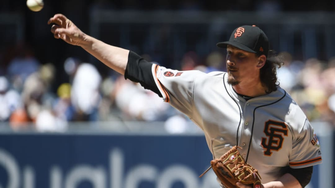 SAN DIEGO, CA - MARCH 31: Jeff Samardzija #29 of the San Francisco Giants pitches during the first inning of a baseball game against the San Diego Padres at Petco Park March 31, 2019 in San Diego, California. (Photo by Denis Poroy/Getty Images)