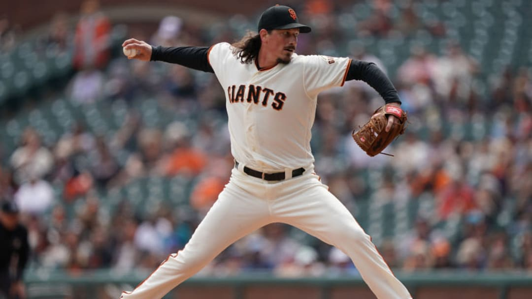 SAN FRANCISCO, CA - APRIL 06: Jeff Samardzija #29 of the San Francisco Giants pitches against the Tampa Bay Rays in the top of the first of a Major League Baseball game at Oracle Park on April 6, 2019 in San Francisco, California. (Photo by Thearon W. Henderson/Getty Images)