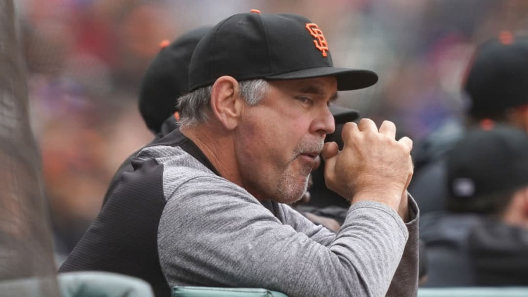 SAN FRANCISCO, CA - MAY 15: Manager Bruce Bochy #15 of the San Francisco Giants looks on from the dugout against the Toronto Blue Jays in the bottom of the second inning of a Major League Baseball game at Oracle Park on May 15, 2019 in San Francisco, California. (Photo by Thearon W. Henderson/Getty Images)