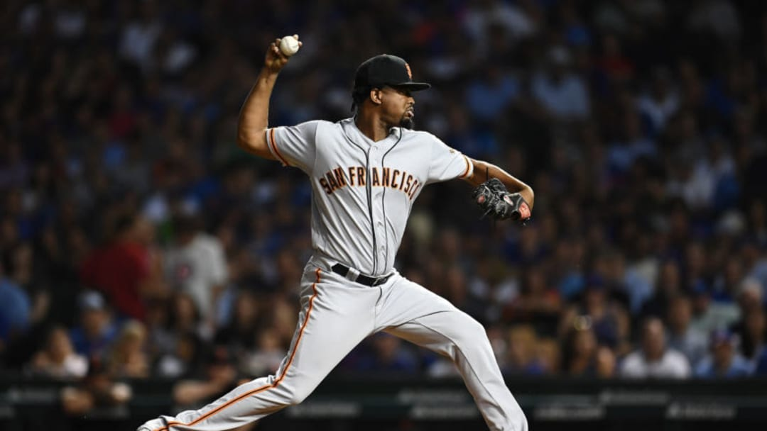 CHICAGO, ILLINOIS - AUGUST 20: Jandel Gustave #74 of the San Francisco Giants throws a pitch during the sixth inning against the Chicago Cubs at Wrigley Field on August 20, 2019 in Chicago, Illinois. (Photo by Stacy Revere/Getty Images)