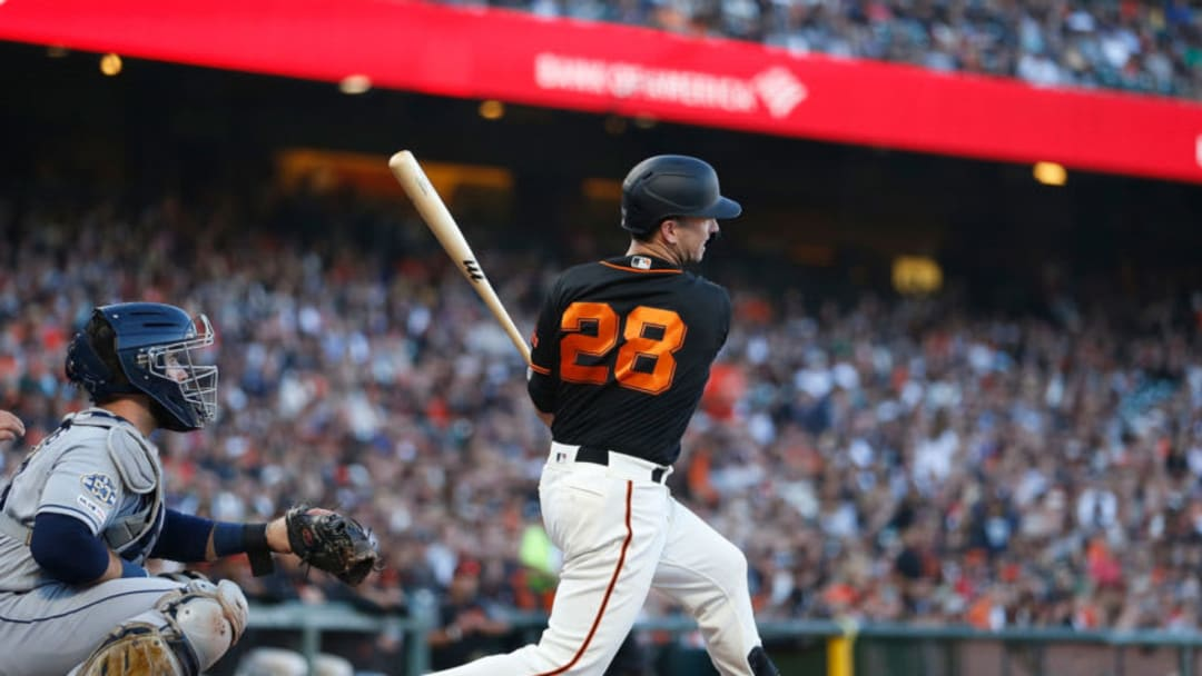 SAN FRANCISCO, CALIFORNIA - AUGUST 31: Buster Posey #28 of the San Francisco Giants at bat against the San Diego Padres at Oracle Park on August 31, 2019 in San Francisco, California. (Photo by Lachlan Cunningham/Getty Images)