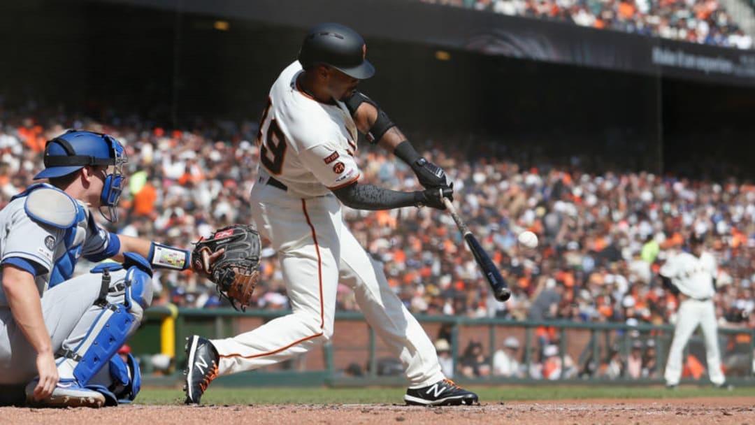 SF Giants outfielder Jaylin Davis swings. (Photo by Lachlan Cunningham/Getty Images)