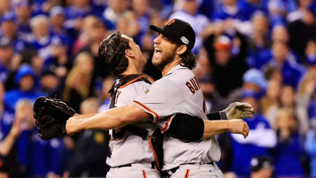 SF Giants catcher Buster Posey will very likely follow Madison Bumgarner by signing with another franchise after next season. (Photo by Jamie Squire/Getty Images)