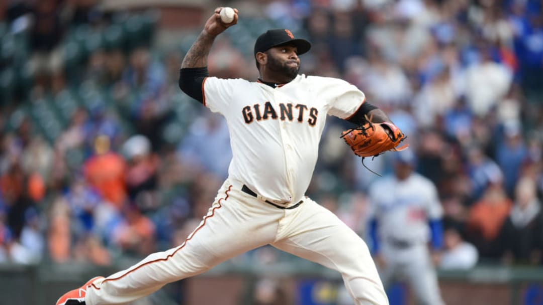 SAN FRANCISCO, CA - APRIL 28: Pablo Sandoval #48 of the San Francisco Giants pitches against the Los Angeles Dodgers in the top of the ninth inning during game one of a doubleheader at AT&T Park on April 28, 2018 in San Francisco, California. Sandoval got the Dodgers out 1-2-3 in the inning. (Photo by Thearon W. Henderson/Getty Images)