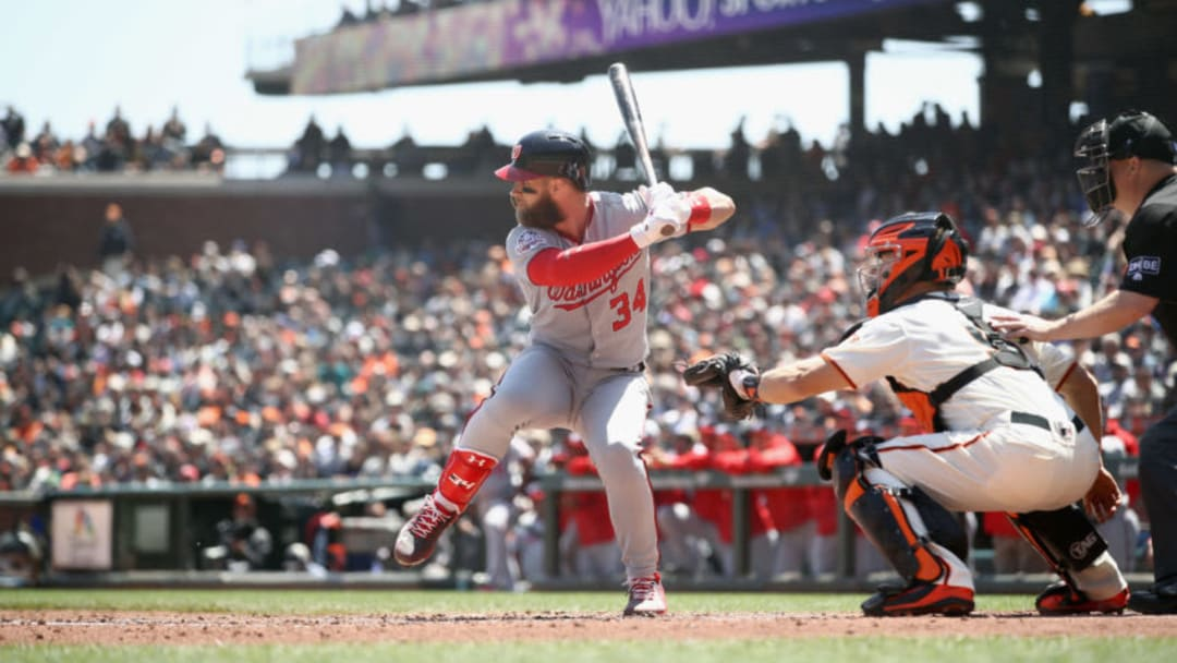 SAN FRANCISCO, CA - APRIL 25: Bryce Harper #34 of the Washington Nationals bats against the San Francisco Giants at AT&T Park on April 25, 2018 in San Francisco, California. (Photo by Ezra Shaw/Getty Images)