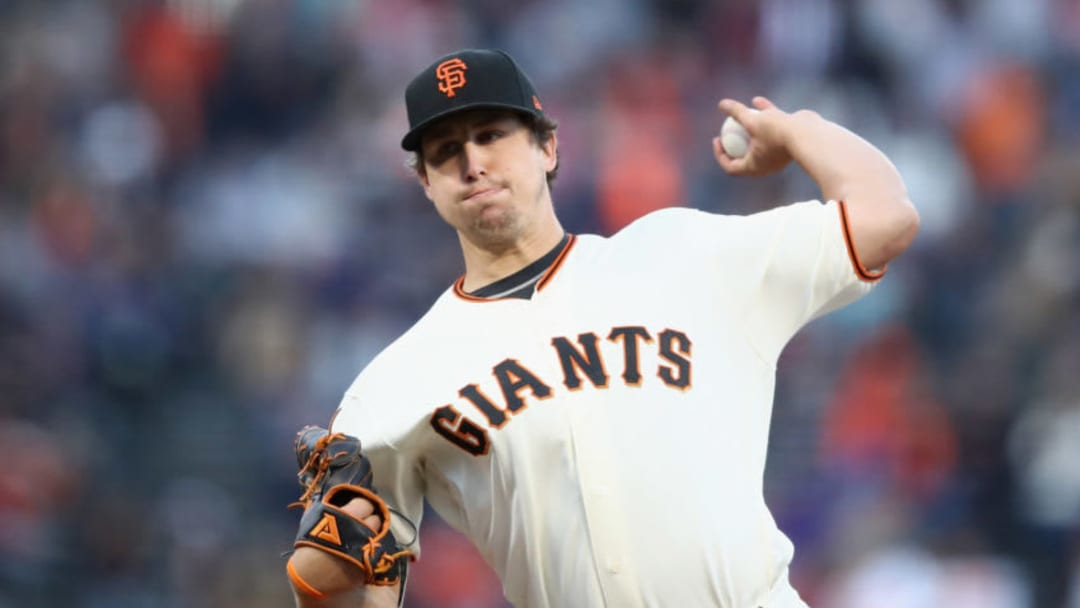 SAN FRANCISCO, CA - JUNE 04: Derek Holland #45 of the San Francisco Giants pitches against the Arizona Diamondbacks in the second inning at AT&T Park on June 4, 2018 in San Francisco, California. (Photo by Ezra Shaw/Getty Images)