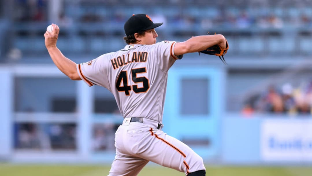 LOS ANGELES, CA - JUNE 15: Derek Holland #45 of the San Francisco Giants pitches to the Los Angeles Dodgers during the first inning at Dodger Stadium on June 15, 2018 in Los Angeles, California. (Photo by Harry How/Getty Images)