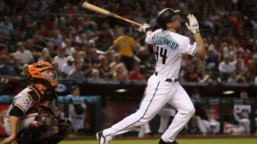 PHOENIX, AZ - JUNE 29: Paul Goldschmidt #44 of the Arizona Diamondbacks hits a fly ball out during the first inning of the MLB game against the San Francisco Giants at Chase Field on June 29, 2018 in Phoenix, Arizona. (Photo by Christian Petersen/Getty Images)