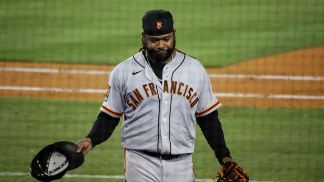 Johnny Cueto #47 of the San Francisco Giants walks off the field. (Photo by Katelyn Mulcahy/Getty Images)