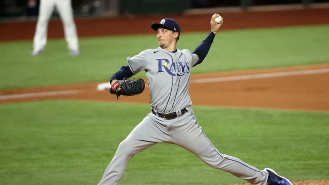 Oct 21, 2020; Arlington, Texas, USA; Tampa Bay Rays starting pitcher Blake Snell (4) delivers a pitch in the 5th inning against the Los Angeles Dodgers in game two of the 2020 World Series at Globe Life Field. Mandatory Credit: Tim Heitman-USA TODAY Sports