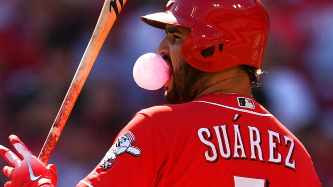 CINCINNATI, OH - SEPTEMBER 30: Eugenio Suarez #7 of the Cincinnati Reds blows a bubble while batting in the first inning against the Pittsburgh Pirates at Great American Ball Park on September 30, 2018 in Cincinnati, Ohio. (Photo by Jamie Sabau/Getty Images)