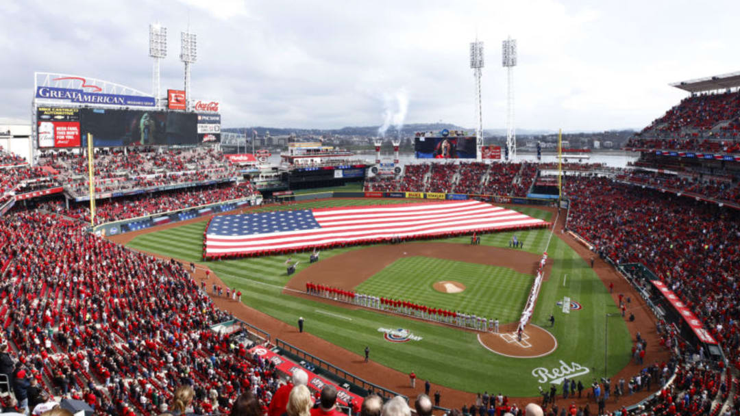 CINCINNATI, OH - MARCH 30: A general view during the national anthem prior to the Opening Day game between the Cincinnati Reds and Washington Nationals at Great American Ball Park. (Photo by Joe Robbins/Getty Images)