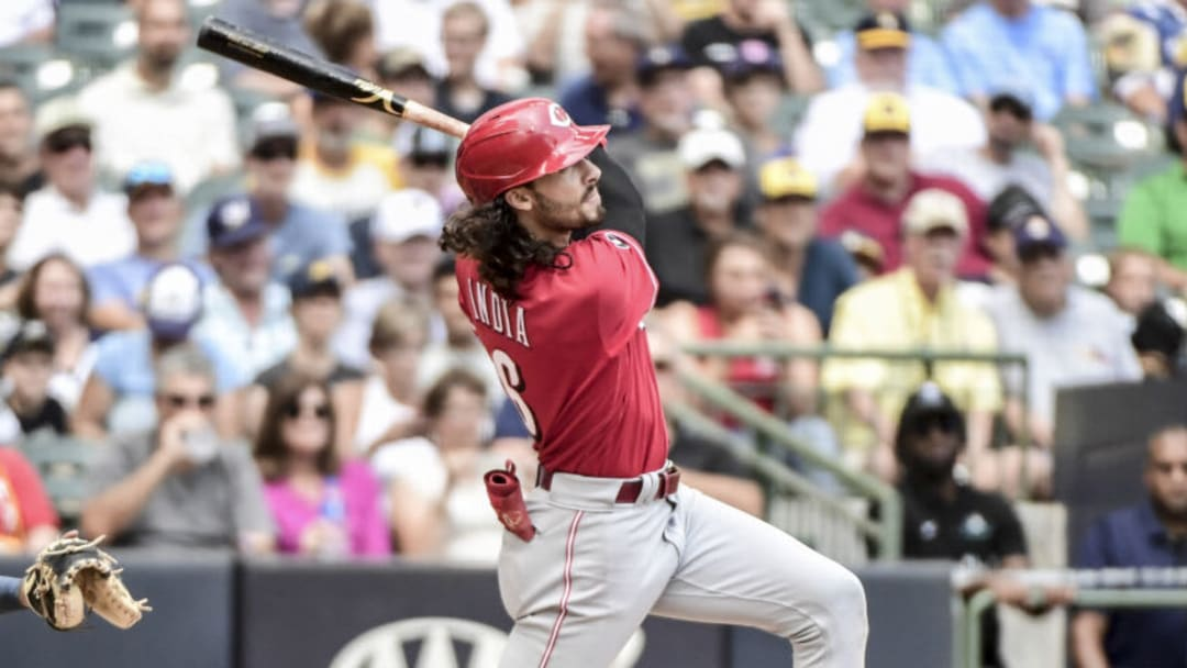 Aug 26, 2021; Milwaukee, Wisconsin, USA; Cincinnati Reds second baseman Jonathan India (6) hits a three run homer. Mandatory Credit: Benny Sieu-USA TODAY Sports