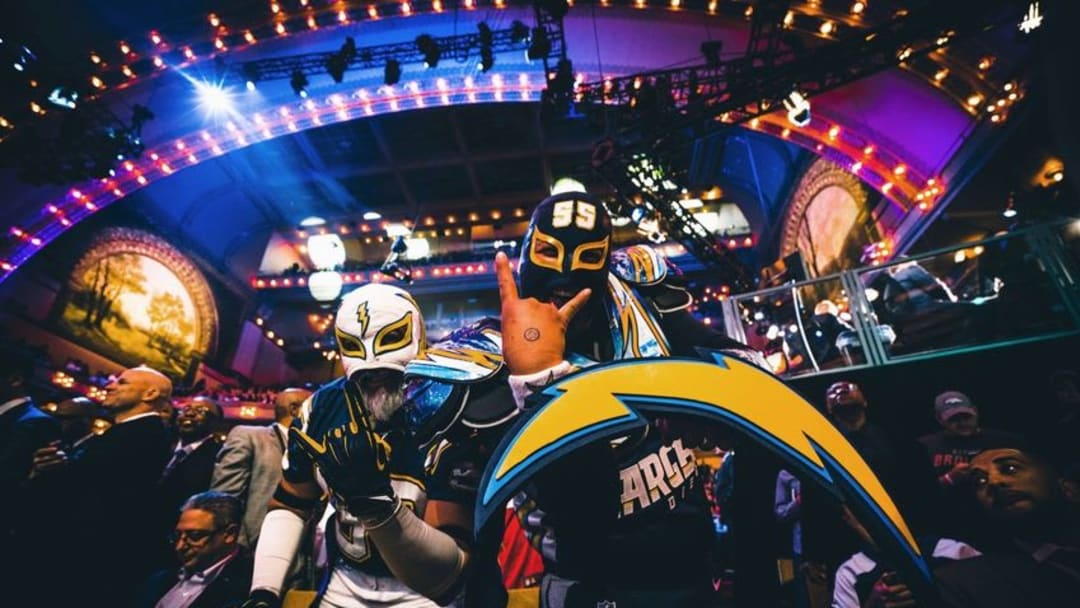 Apr 28, 2016; Chicago, IL, USA; Fans of the San Diego Chargers react after the Joey Bosa (Ohio State) is selected as the third overall pick in the 2016 NFL Draft at Auditorium Theatre. Mandatory Credit: Chuck Anderson-USA TODAY Sports