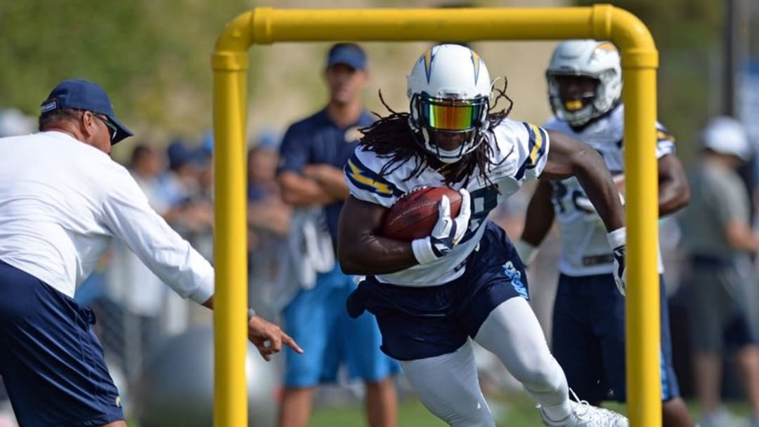 Jul 30, 2016; San Diego, CA, USA; San Diego Chargers running back Melvin Gordon (28) runs during a drill in training camp at Chargers Park. Mandatory Credit: Jake Roth-USA TODAY Sports
