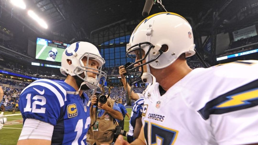 Sep 25, 2016; Indianapolis, IN, USA; Indianapolis Colts quarterback Andrew Luck (12) shakes hands with Phillip Rivers (17) after defeating the San Diego Chargers 26-22 at Lucas Oil Stadium. Mandatory Credit: Thomas J. Russo-USA TODAY Sport