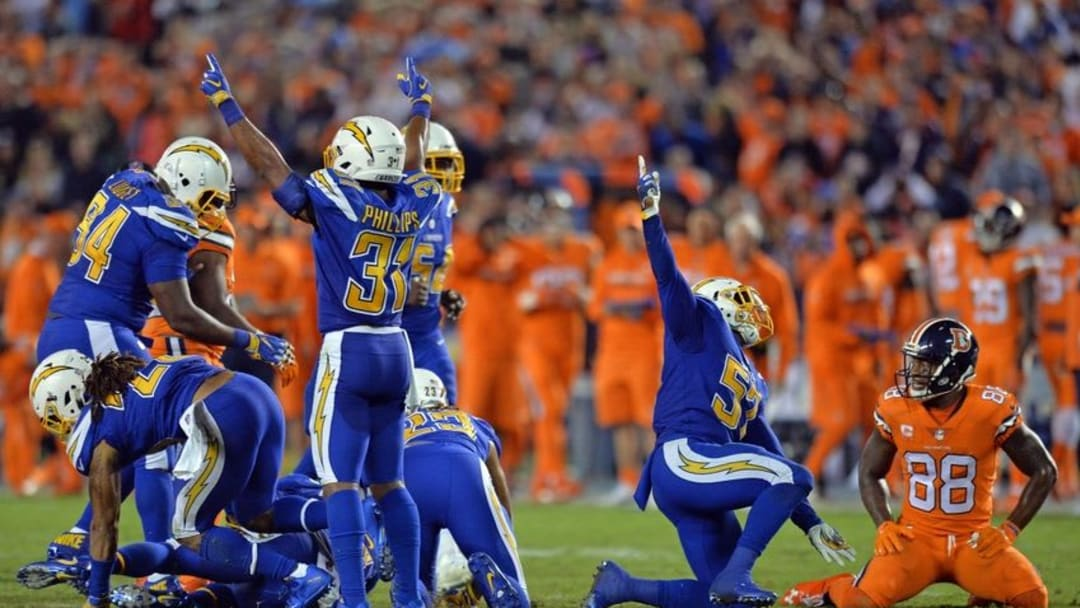 Oct 13, 2016; San Diego, CA, USA; The San Diego Chargers defense reacts after recovering a fumble by Denver Broncos wide receiver Demaryius Thomas (88) during the fourth quarter at Qualcomm Stadium. Mandatory Credit: Jake Roth-USA TODAY Sports