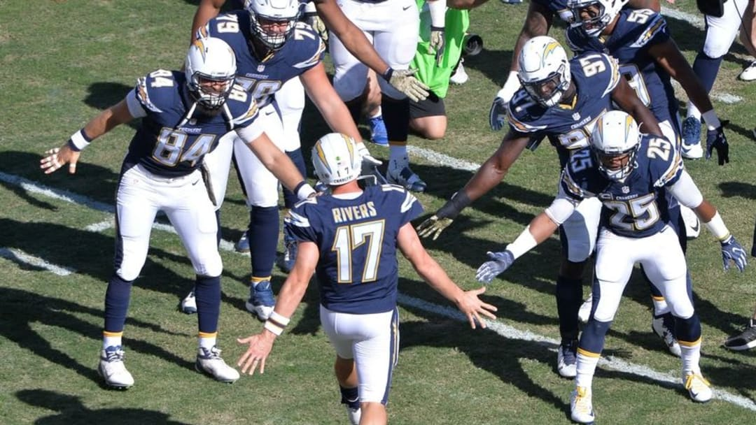 Nov 13, 2016; San Diego, CA, USA; San Diego Chargers quarterback Philip Rivers (17) runs onto the field before the game against the Miami Dolphins at Qualcomm Stadium. Mandatory Credit: Orlando Ramirez-USA TODAY Sports
