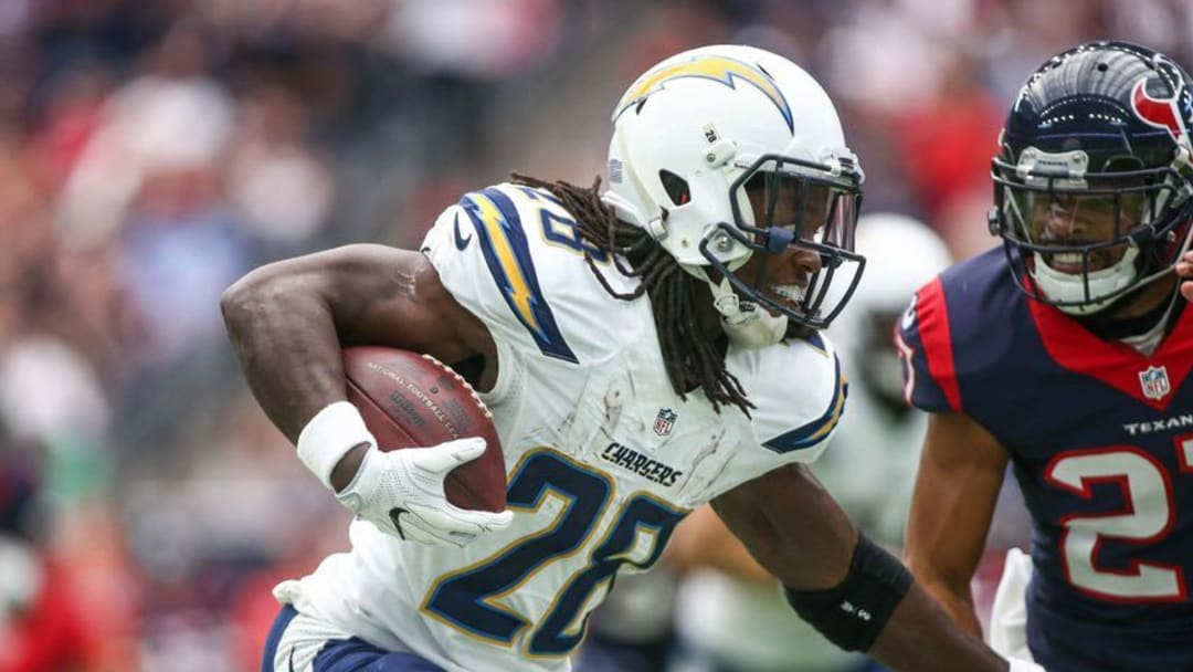 Nov 27, 2016; Houston, TX, USA; San Diego Chargers running back Melvin Gordon (28) runs with the ball during the game against the Houston Texans at NRG Stadium. Mandatory Credit: Troy Taormina-USA TODAY Sports